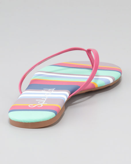 Madrid Striped Flip Flops, Dragon Fruit