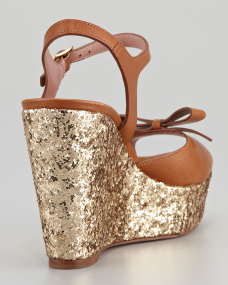 Leather Bow and Glitter Wedge Sandal