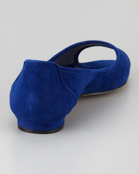 Anetina Perforated Suede Ballerina Flat, Blue