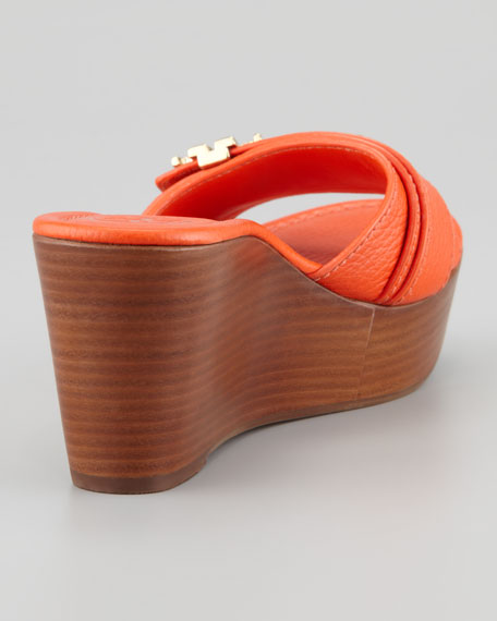 Elina Mid-Wedge Slide Sandal, Orange