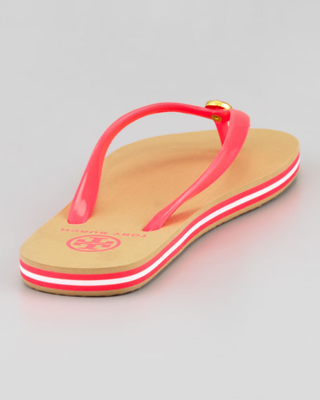 Neon Striped Rubber Flip Flop, Neon Pink