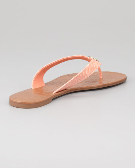 Thora 2 Lizard-Print Thong Sandal, Tart Orange