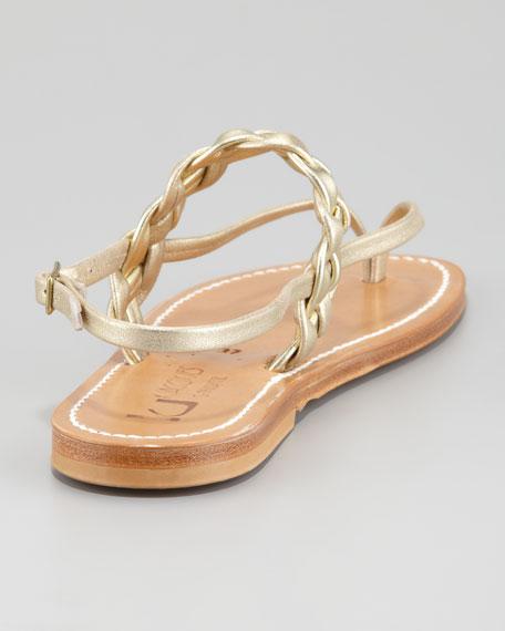 Pompei Braided Leather Slingback Flat Sandal, Platinum