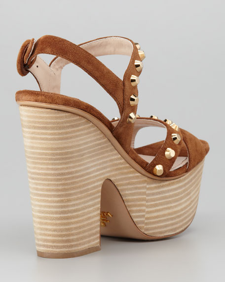 Studded Suede Stacked Platform Wedge, Tobacco