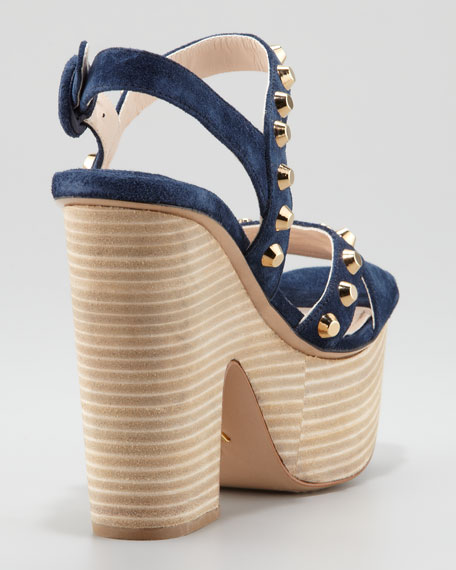 Studded Suede Stacked Platform Wedge, Navy