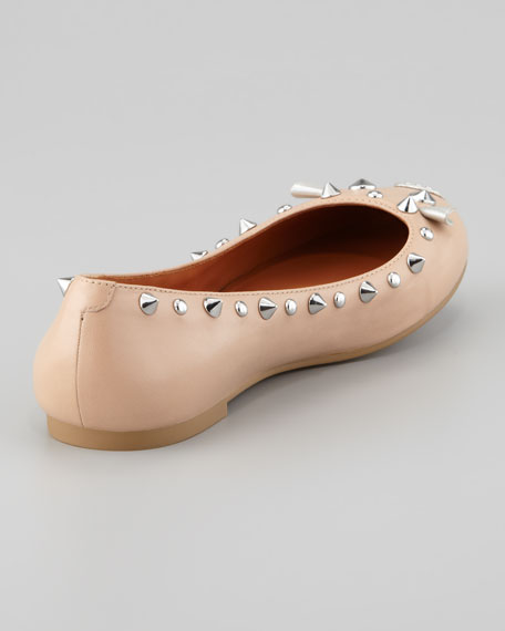Studded Mouse Ballerina Flat, Nude