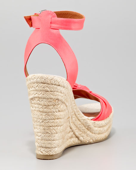 Pretty Knot Neon Canvas Wedge Sandal, Pink