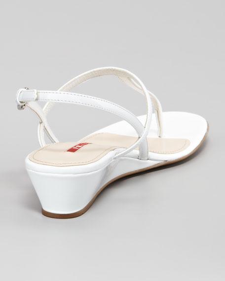 Patent Halter Demi Wedge Sandal, White