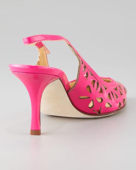 jacey cutout kitten-heel slingback, lipstick pink