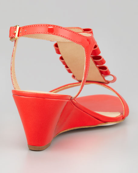 darcey bow-studded wedge sandal, orange