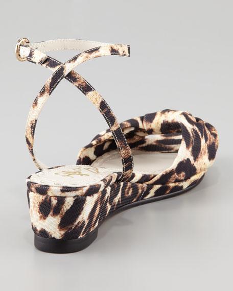 Alexi Leopard-Print Low-Wedge Sandal