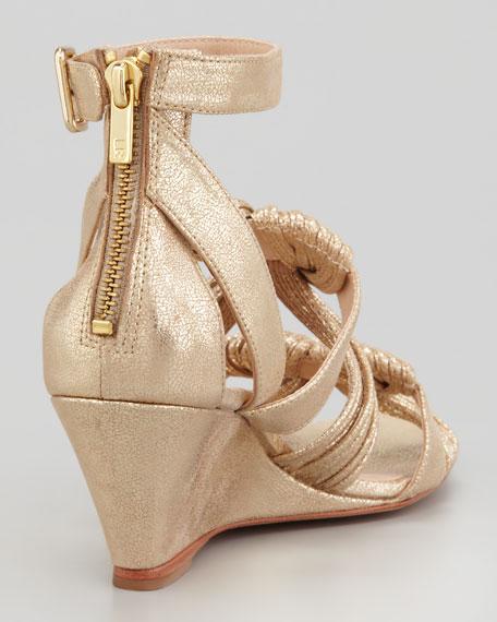 Alana Metallic Mid-Wedge Sandal, Gold
