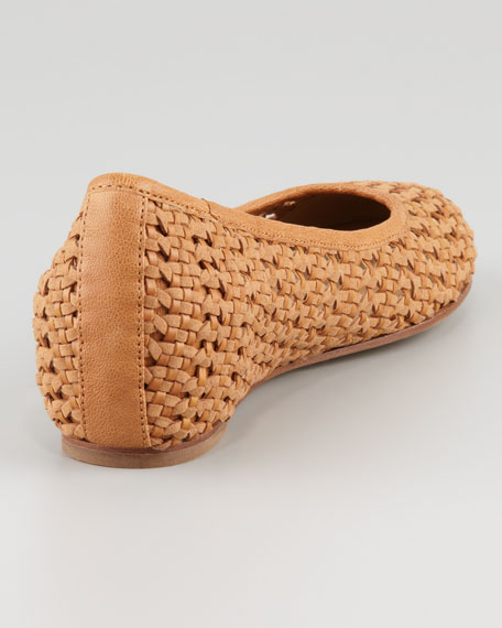 Sew Internal-Wedge Woven Ballerina Flat, Chestnut