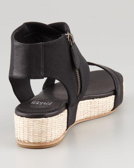 Slot Stretch Ankle-Wrap Flatform Sandal