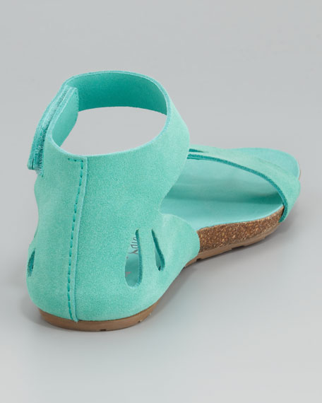 Joanna Cutout Suede Sandal, Aqua
