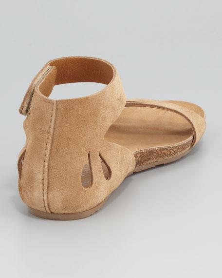 Joanna Cutout Suede Sandal, Camel