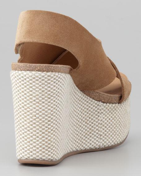 Denia Crisscross Wedge Sandal, Camel