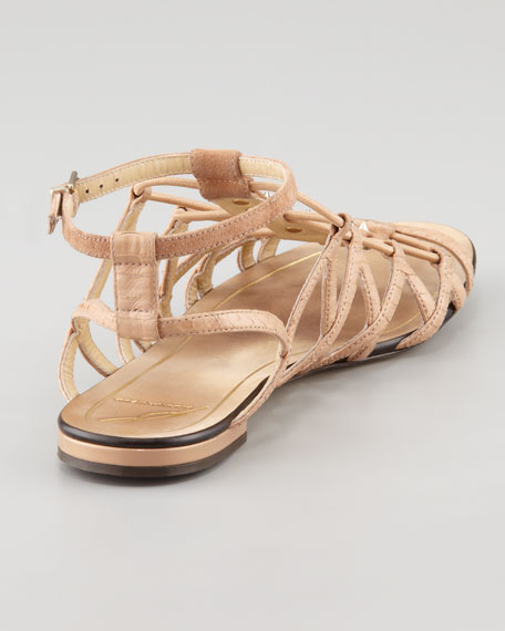 Agustina Stretch Snake Flat Sandal, Natural