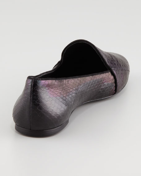 Claudelle Hologram Snakeskin Slipper, Black