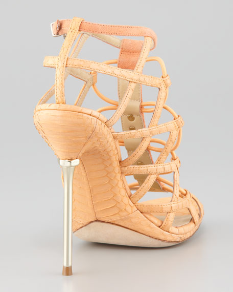 Mirante Studded Stretch Cage Sandal, Orange