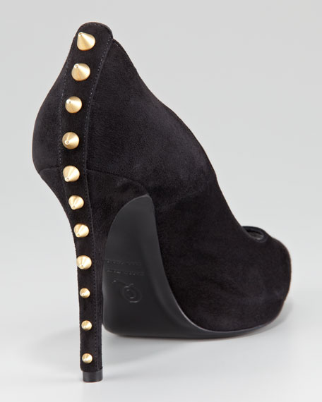 Studded-Heel Peep-Toe Suede Pump, Black