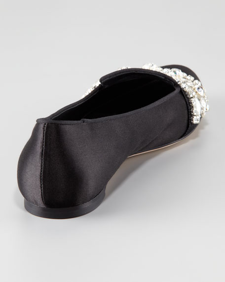 Jewel-Trimmed Satin Slipper