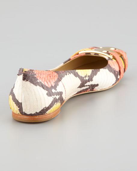 Painted Snakeskin Ballerina Flat
