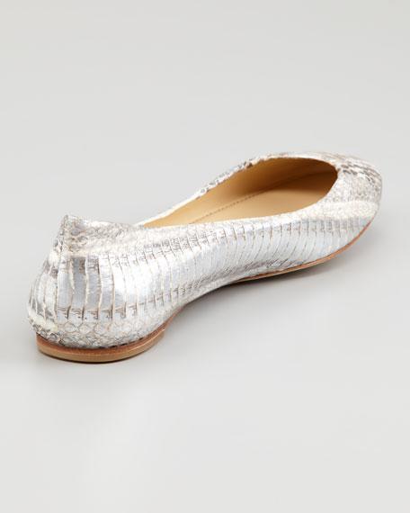 Lara Snake-Embossed Ballerina Flat, Silver
