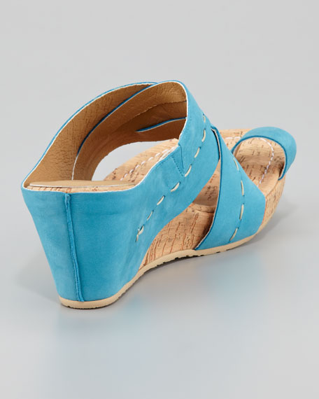 Gilana Wrapped Nubuck Cork Wedge, Turquoise