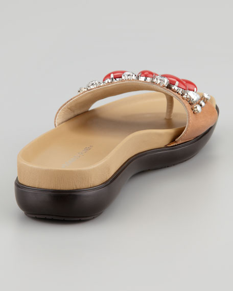Holly Crystal-Beaded Thong Slide, Natural/Coral