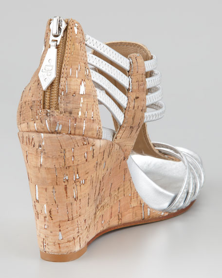 Ginnie Metallic Stretch Cork Wedge Sandal, Natural/Silver