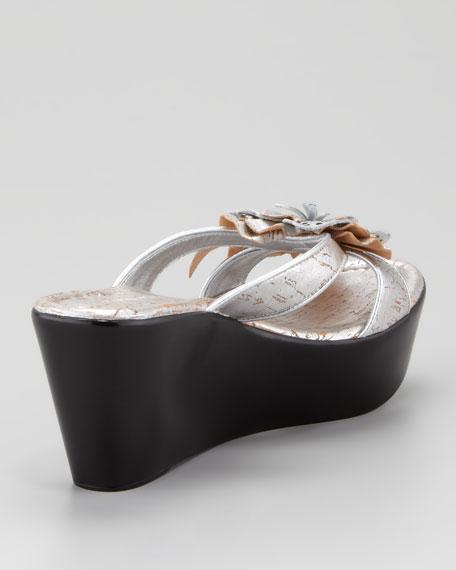 Shann Distressed Metallic Floral Wedge Sandal, Silver