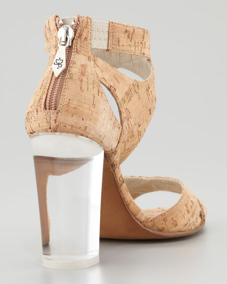 Manda Cork Lucite Heel Sandal