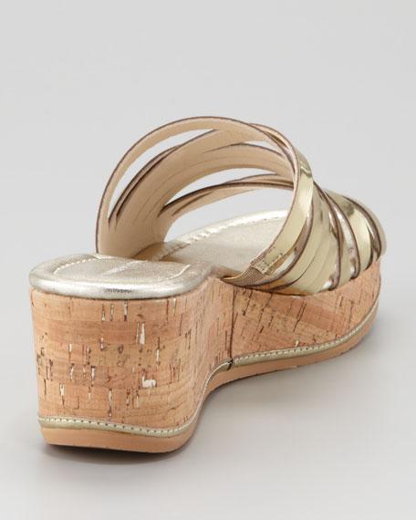 Sheena Metallic Wedge Slide, Platino