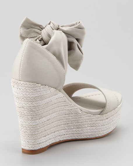 Tiam Crepe Elastic Espadrille Wedge, Neutral
