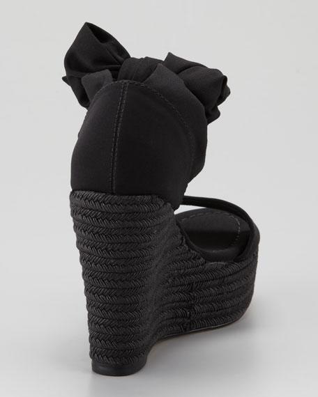 Tiam Crepe-Elastic Espadrille Wedge, Black