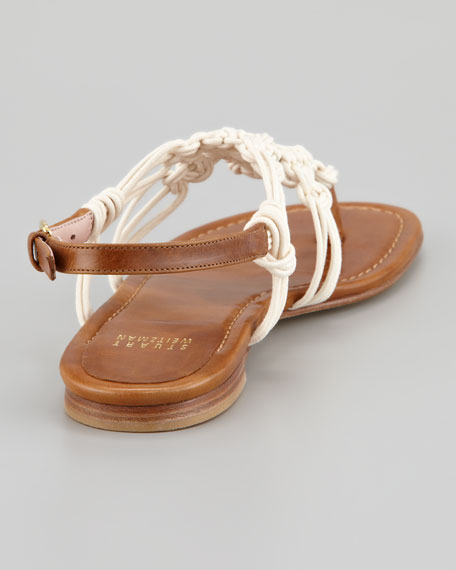 Corded Thong Flat Sandal, Saddle