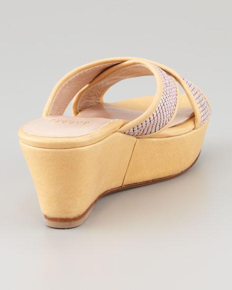 Extrovert Chain-Maille Platform Slide Sandal, Froth