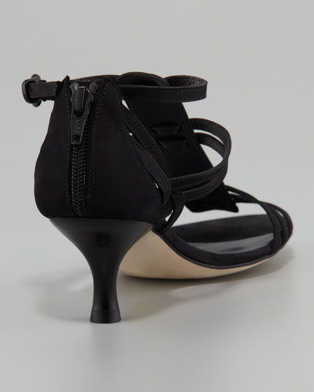 Stuart Weitzman Huarache Nubuck Kitten-Heel Gladiator Sandal, Black