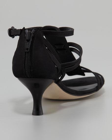 Huarache Nubuck Kitten-Heel Gladiator Sandal, Black