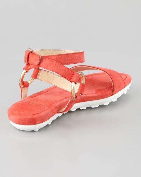 Ringo Ankle-Strap Flat Sandal, Pimiento/Coral