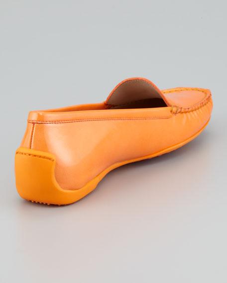 Mach 1 Patent Leather Driver Moccasin, Papaya Orange