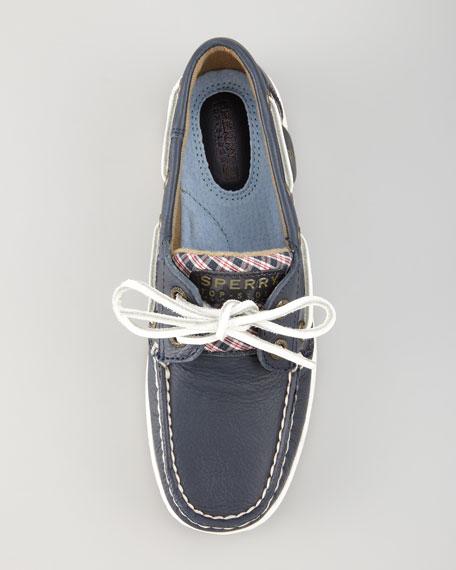 Bluefish Plaid-Detail Boat Shoe