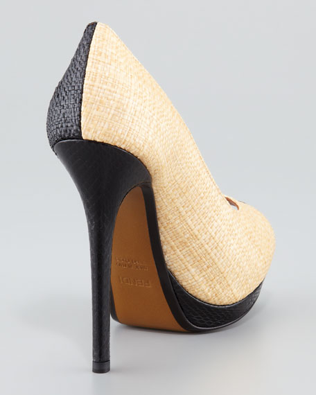 Raffia & Snake Colorblock Platform Pump, Black/White
