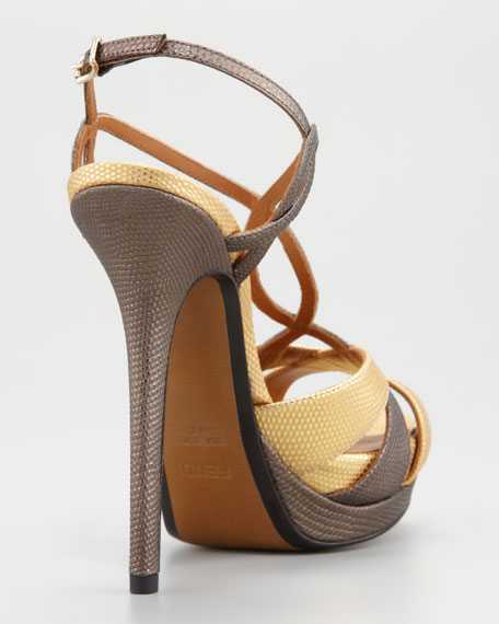 Twisted T-Strap Two-Tone Sandal, Gold