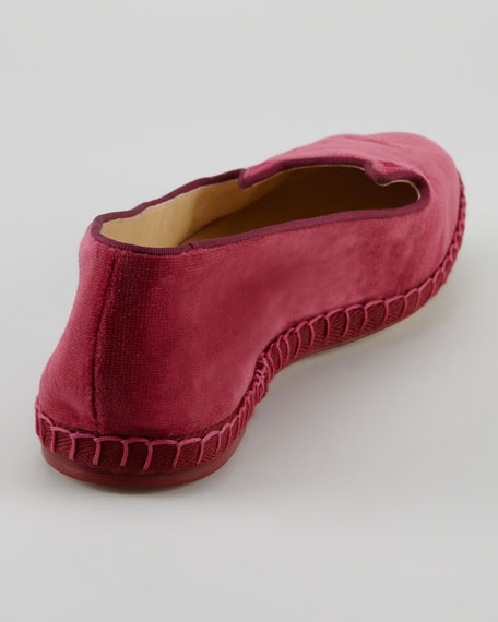Capri Cats Cotton Velvet Cat-Face Slipper, Fuchsia