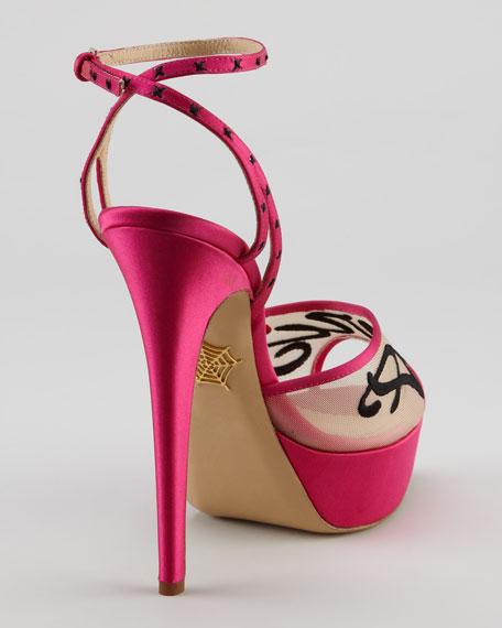 Paris-Stitched Platform Sandal, Fuchsia