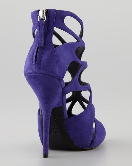 Butterfly Cutout Suede Sandal, Purple