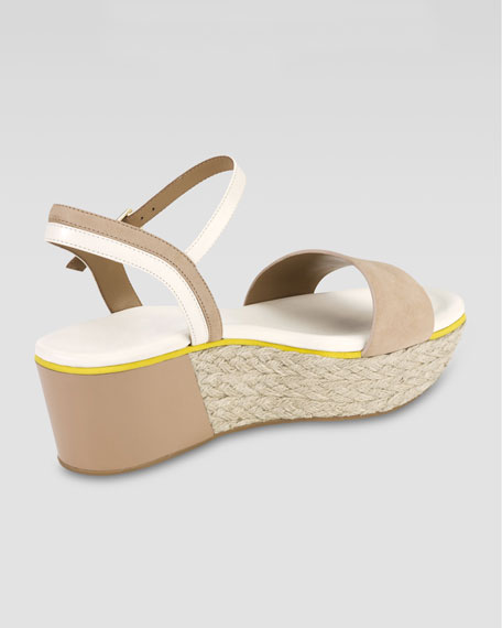 Arden Nubuck Wedge Sandal, Sandstone