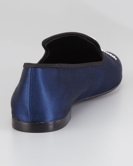 Satin Tassel Loafer, Navy